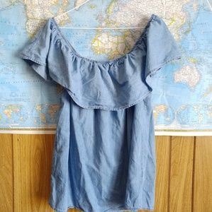 Blue Chambray Off Shoulder Ruffle Top M